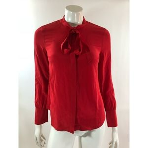 J Crew Womens Top Size 2 Red Silk Blouse